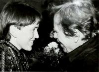Hana welcoming Václav Havel in Trutnov, 27th January 1990