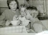Hana with her sons Jan and Petr, Vrchlabí 1981