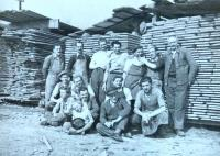 August Masár (first left) with their employees of the joinery and his father (first right) (40´s)