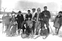 On ski in the childhood