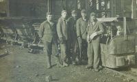 Pavel Höchsmann (second from left) when serving in the Auxiliary Technical Batallions at the President Gottwald coal mine in Horní Suchá.