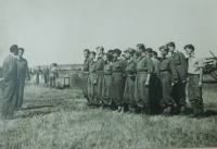 Pavel Höchsman at a regional parachuting competition in Prostějov in 1953.