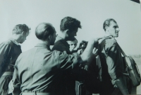 Pavel Höchsman (right) at a regional parachuting competition in Prostějov in 1953.