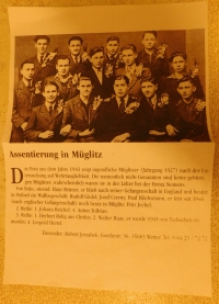 A letter Pavel's friend Robert Jerzabek sent from Germanz, with a photograph of the boys from Mohelnice (including PH) who were enlisted in the Reich Labour Service (Reichsarbeitdienst, RAD) in 1943, with information about how the men fared during the war.
