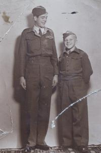 Jindřich and a classmate from the Military Music School
