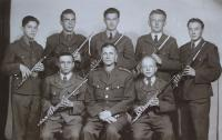 Jindřich (first row on the right) and classmates from Military Music School, first class