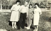 The Holba family , left sister Jindřiška, father Václav, mother Anna, witness Milada, Bylnice about 1961
