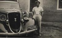Václav Holba with the car of Mr Šerý used for transporting flour, Bylnice 1938