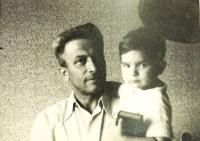 Václav Holba with his first grandson Aleš, Bylnice 1964