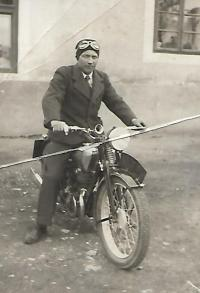 Václav Holba on his motorcycle, Bylnice 1940
