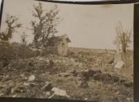 ruins of a village in the eastern front, picture of Dušan's father