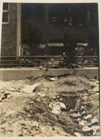 Debris in the city center after the bombing
