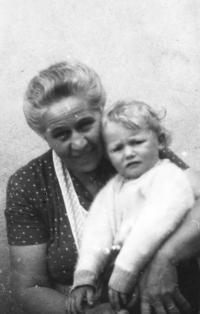 With his grandma Marie Burešová in 1953