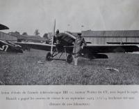 Josef Hamšík with his plane / clip from a French magazine