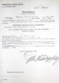 Eliška Hamšíková / Certificate: participant in the national fight for liberation