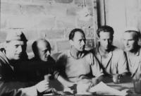 From left Stanislav Holan, Zdeněk Zeleny, Ladislav Shejbal, Slovakian, Jaroslav Mejzr in the masonry part in the working camps in Jáchymovsk