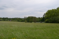 View from the former upper part of the village to the lower part, which used to stand around the pond