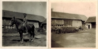Photos of the farm, on the right - photo from private farming times, on the left - Josef Horký on a horse, collective farming in 1954