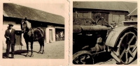 Photos of the farm from the Second World War, on the right - young grandpa Josef on a tractor Fordson, on the left - a coachman with the horse which was shortly after that confiscated for army