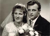 Wedding photo of Josef and Justina Horký, August 15, 1964