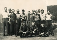 Training to be a bricklayer, Náchod 1953 - 54, witness third from the left