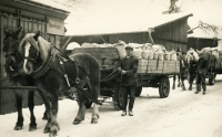 His father as a coach driver in Žamberk, 1953