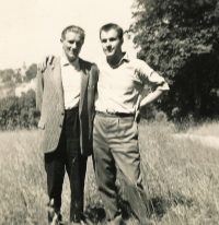 With his brother, Alfréd, in the 1950s