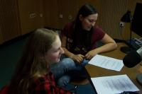 Students during the workshop in the radio