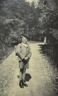Josef Wála on his first school day in 1938