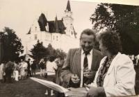 In front of the House of writers in Budmerice, 80s