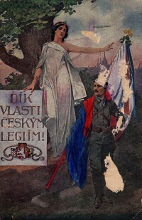 Postcard from the war sent by Mrs. Ermis' father to his father in 1925