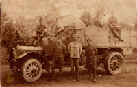 Father of Jaroslav Ermis Jan (sitting on the hood), World War I, Romania