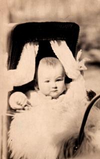 Jaroslav Ermis v kočárku, 1929