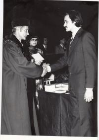 Her son George with dean of the faculty