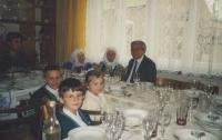 2000-Antonia (center) with sister Ludmila at a birthday party