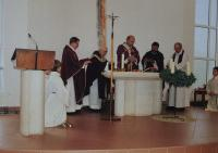 Holy Mass at the 90th birthday of the witness, Antonín Pospíšil, in the photo the second priest from the left.