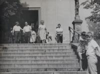 Antonin Pospíšil in front of the church.