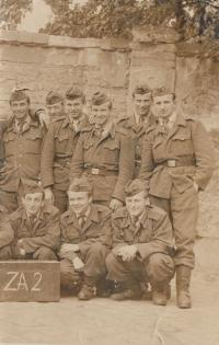 Father with his friends at military service