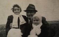 Jarmila and Eva with father Břetislav Roubínek