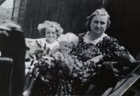 Jarmila and Eva with grandmother Anna Rozlivkova
