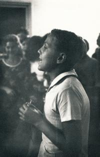Béla declaiming at a summer camp in Hungary, 1965