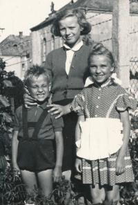 Béla with his sister and a friend, Nové Zámky 1958