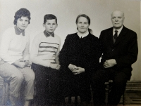 Grandparents Hedvika and František Švéda with grandchildren Radslav and Ludmila probably in 1962