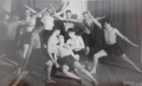 Václav Švéda is among the athleters. Photo taken in 1937