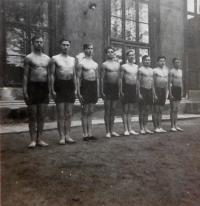 In the middle, Václav Švéda in the gymnastics team