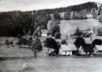 The Antoš family villa (in the hill near the forest) in Železná Ruda, before the war