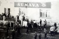Carnival in Železná Ruda in 1946 (Vladimír Antoš was the organizer, dressed as A. Hitler)