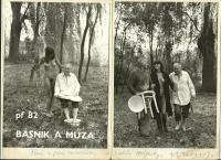 Fotografie z roku 1982 věnované Bohumilem Hrabalem manželům Ascherlovým a hostům Hájenky.