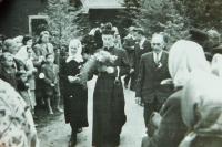 Brother František Špinler and his parents in Dolní Dobrouč in 1950