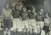 In 1938 (second from the right)